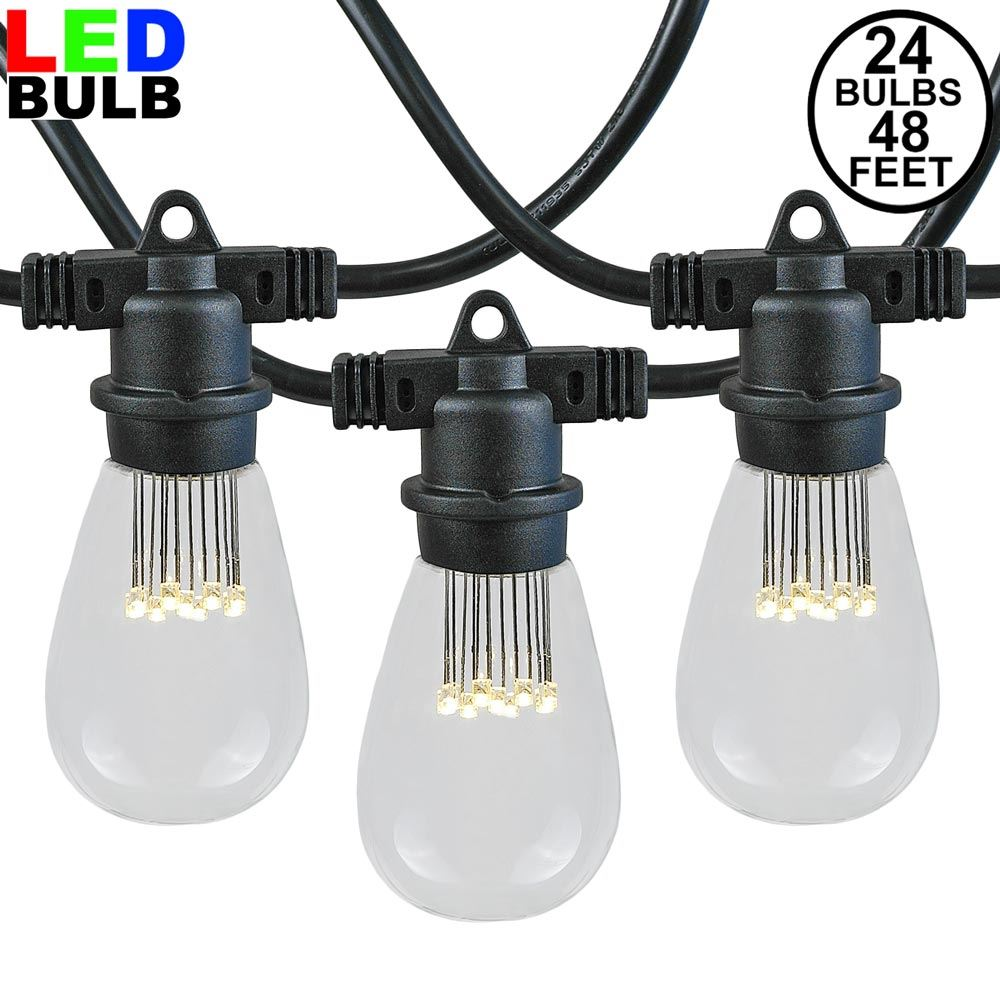 Picture of 24 LED S14 Warm White Commercial Grade Light String Set on 48' of Black Wire