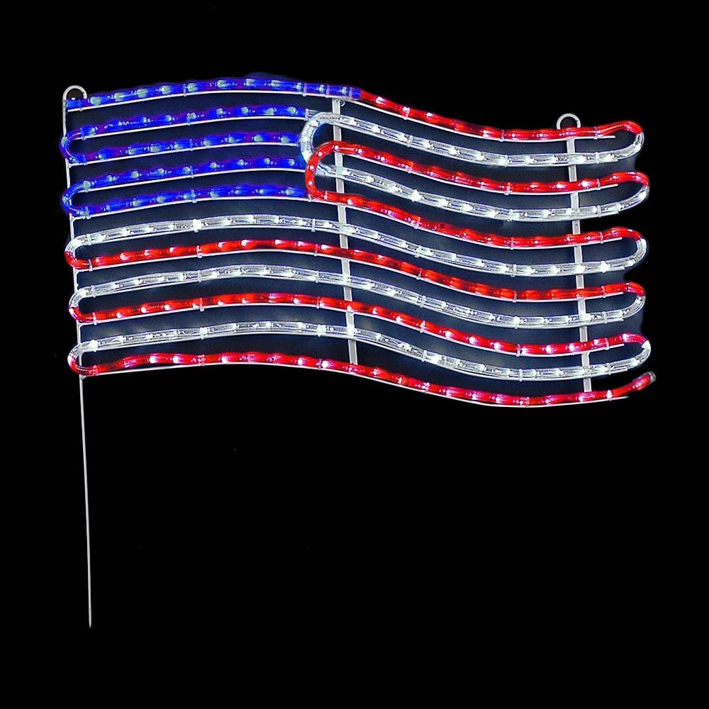 """Picture of 24"""" American Flag LED Rope Light Motif"""