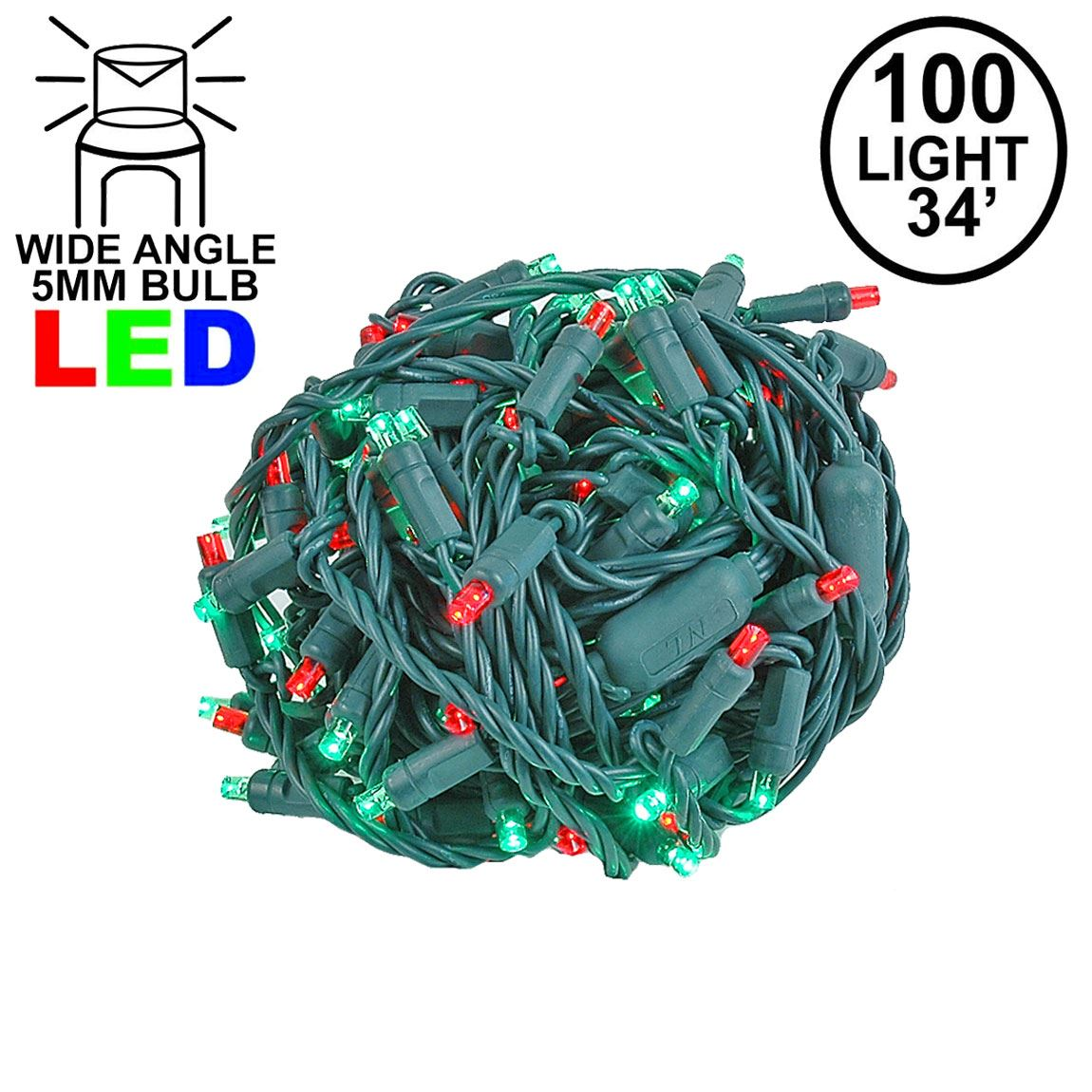Picture of Commercial Grade Wide Angle 100 LED Red/Green 34' Long on Green Wire