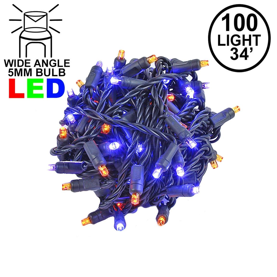 Picture of Commercial Grade Wide Angle 100 LED Purple/Amber 34' Long on Black Wire