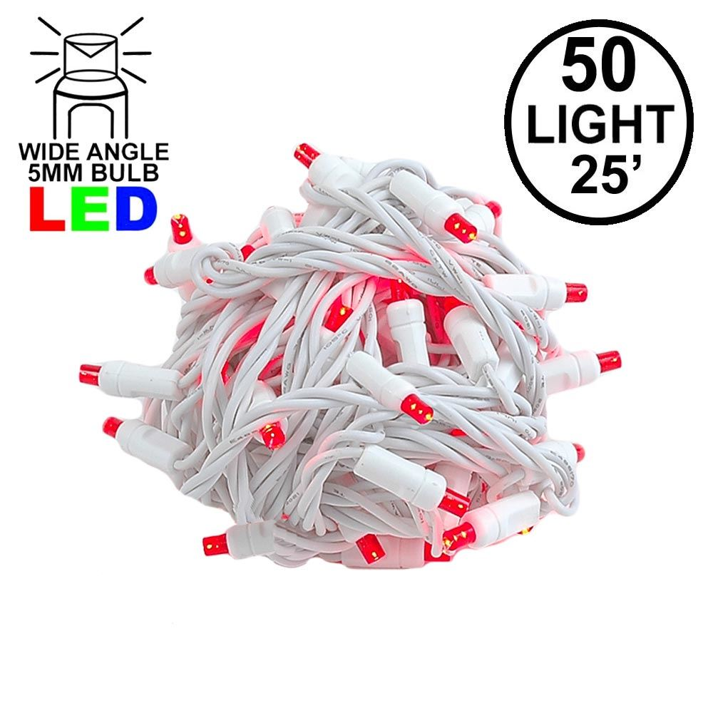 Picture of Commercial Grade Wide Angle 50 LED Red 25' Long White Wire