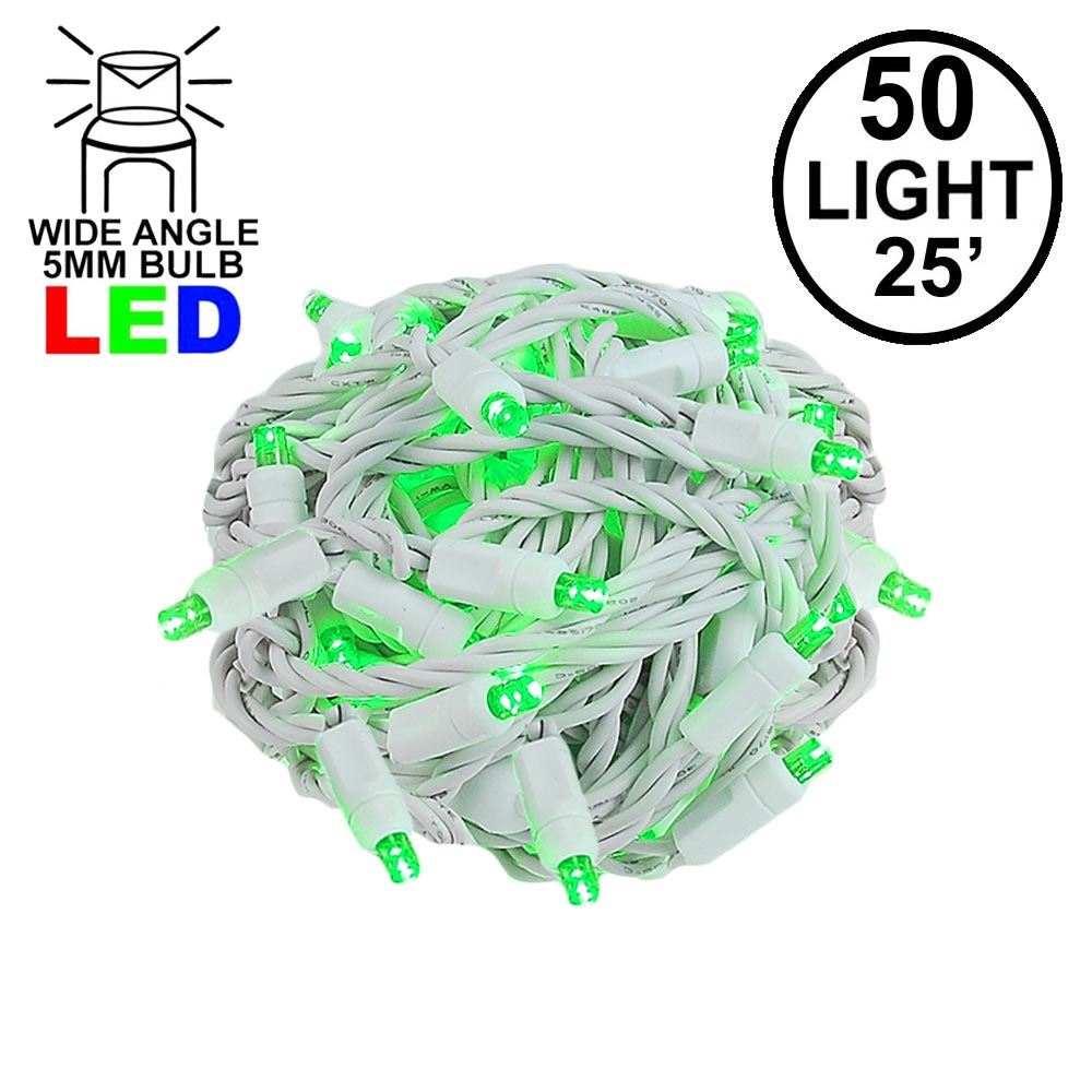 Picture of Commercial Grade Wide Angle 50 LED Green 25' Long on White Wire