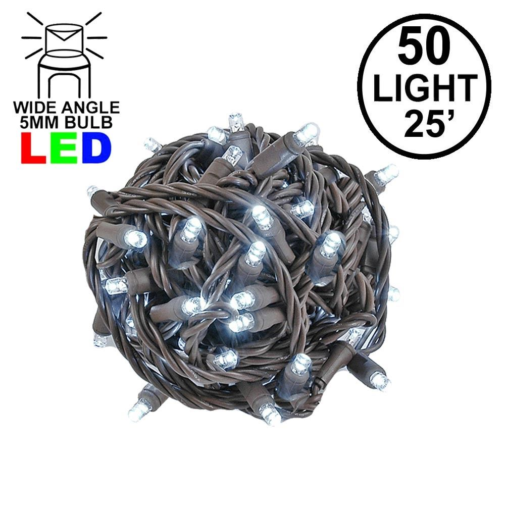 Picture of Commercial Grade Wide Angle 50 LED Pure White 25' Long on Brown Wire