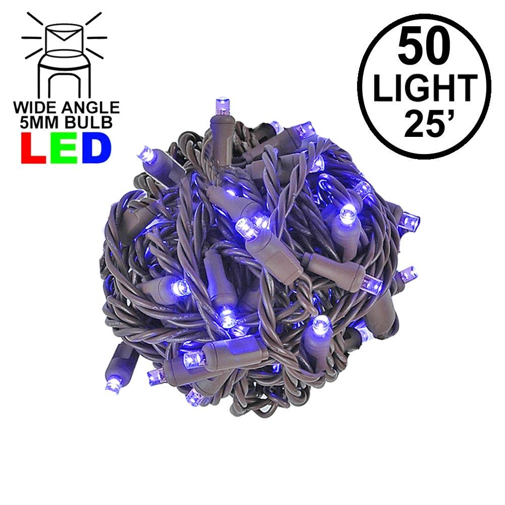 Picture of Commercial Grade Wide Angle 50 LED Purple 25' Long on Brown Wire