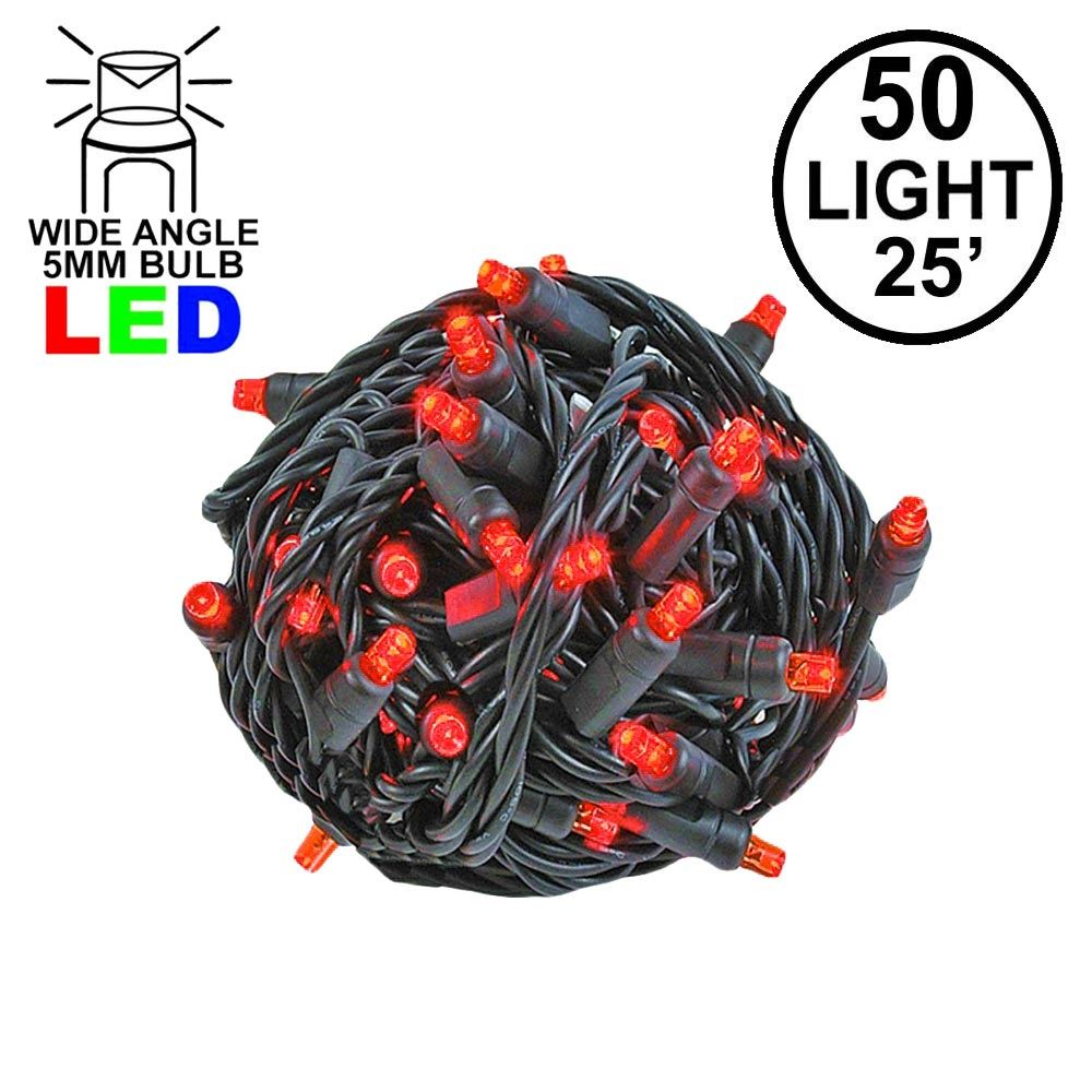Picture of Commercial Grade Wide Angle 50 LED Red 25' Long on Black Wire