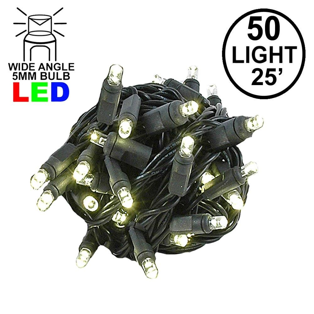 Picture of Commercial Grade Wide Angle 50 LED Warm White 25' Long on Black Wire