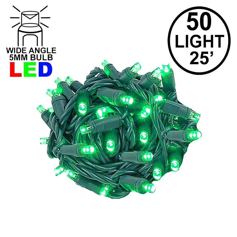 Picture of Commercial Grade Wide Angle 50 LED Green 25' Long on Green Wire