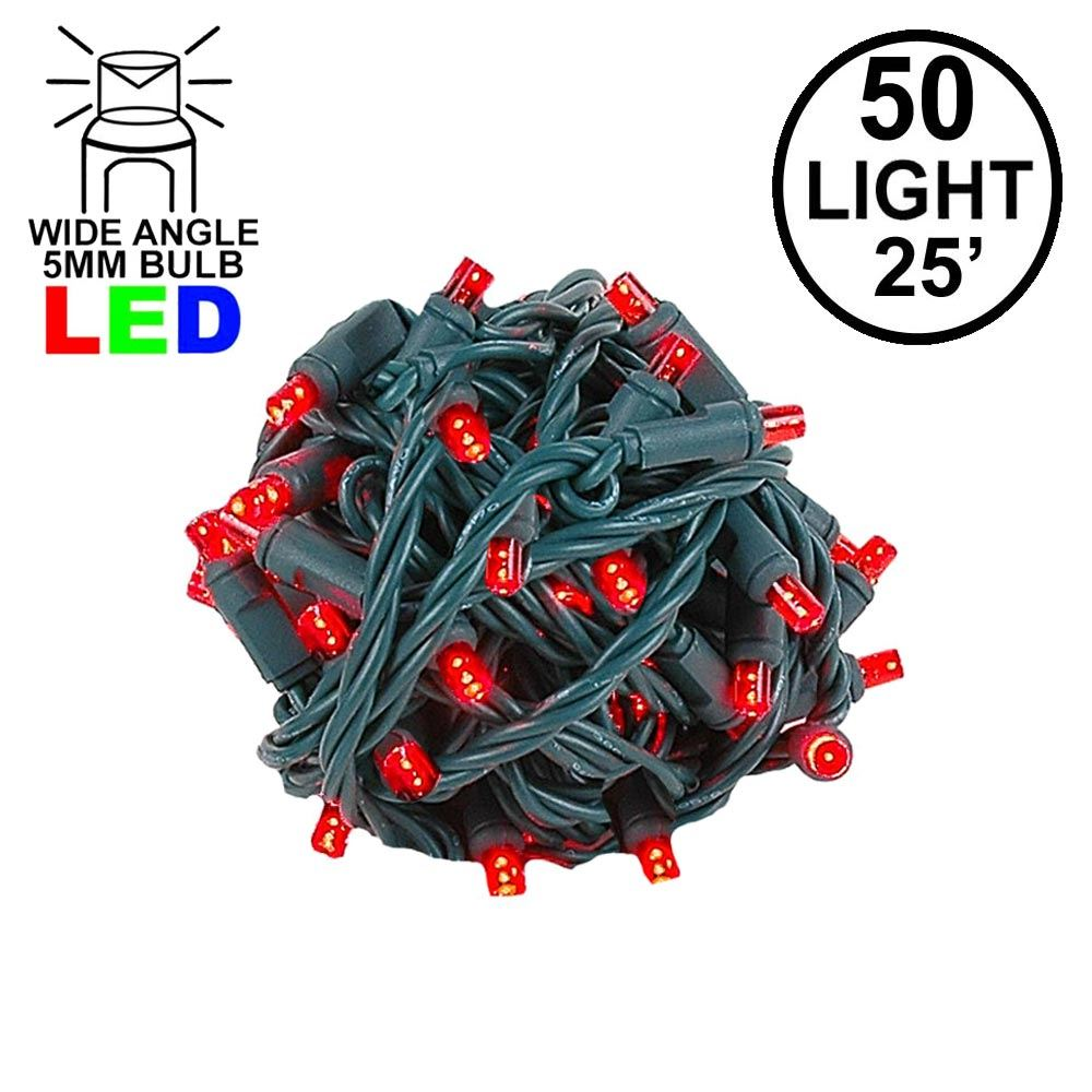 Picture of Commercial Grade Wide Angle 50 LED Red 25' Long on Green Wire