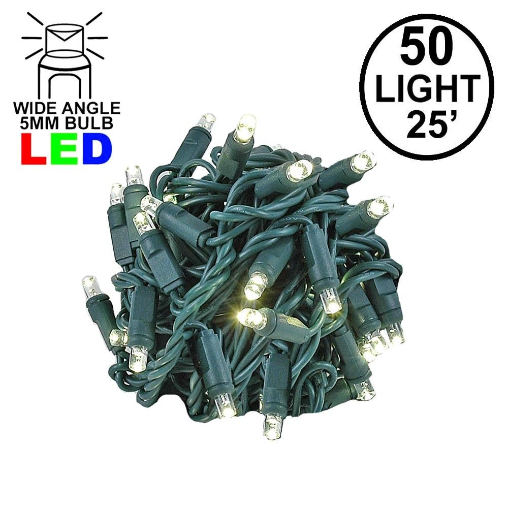 Picture of Commercial Grade Wide Angle 50 LED Warm White 25' Long on Green Wire