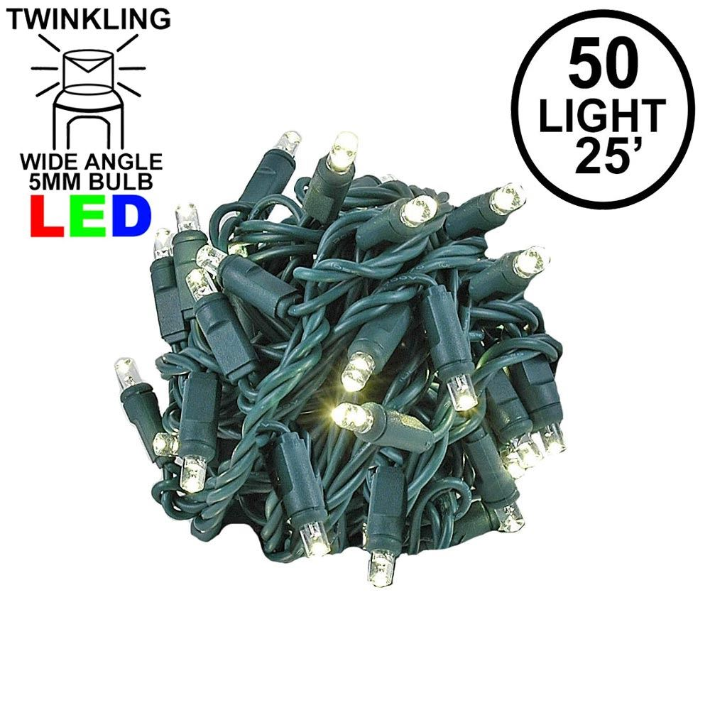 Picture of Twinkle LED Christmas Lights 50 LED Warm White 25' Long Green Wire