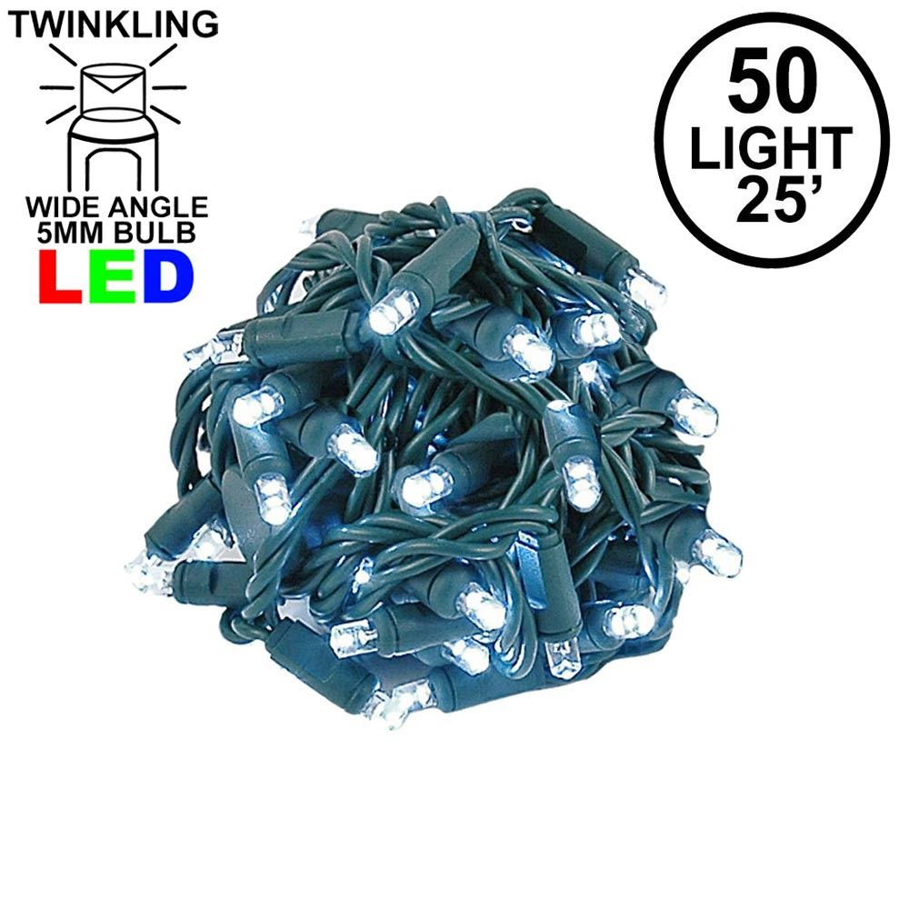 Picture of Twinkle LED Christmas Lights 50 LED Pure White 25' Long Green Wire