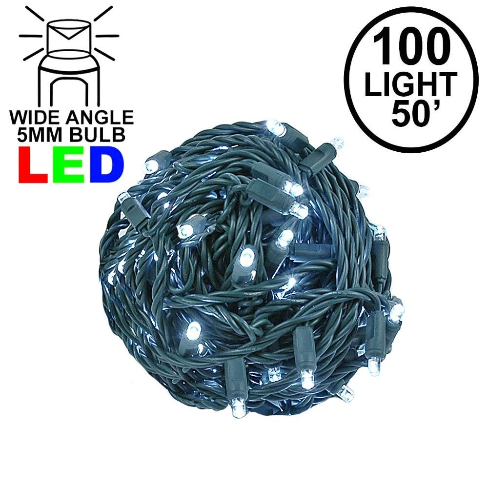 Picture of Commercial Grade Wide Angle 100 LED Pure White 50' Long on Green Wire