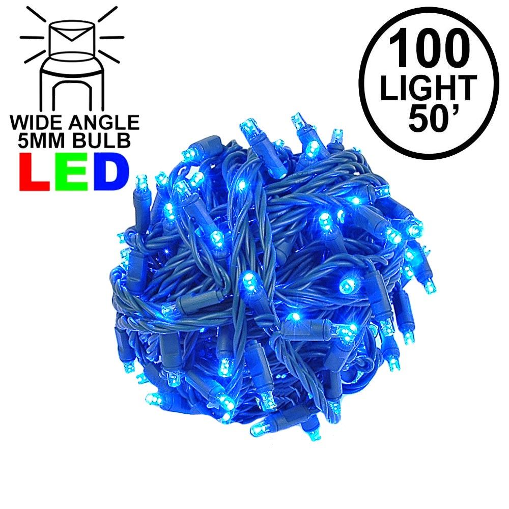 Picture of Commercial Grade Wide Angle 100 LED Blue 50' Long on Green Wire
