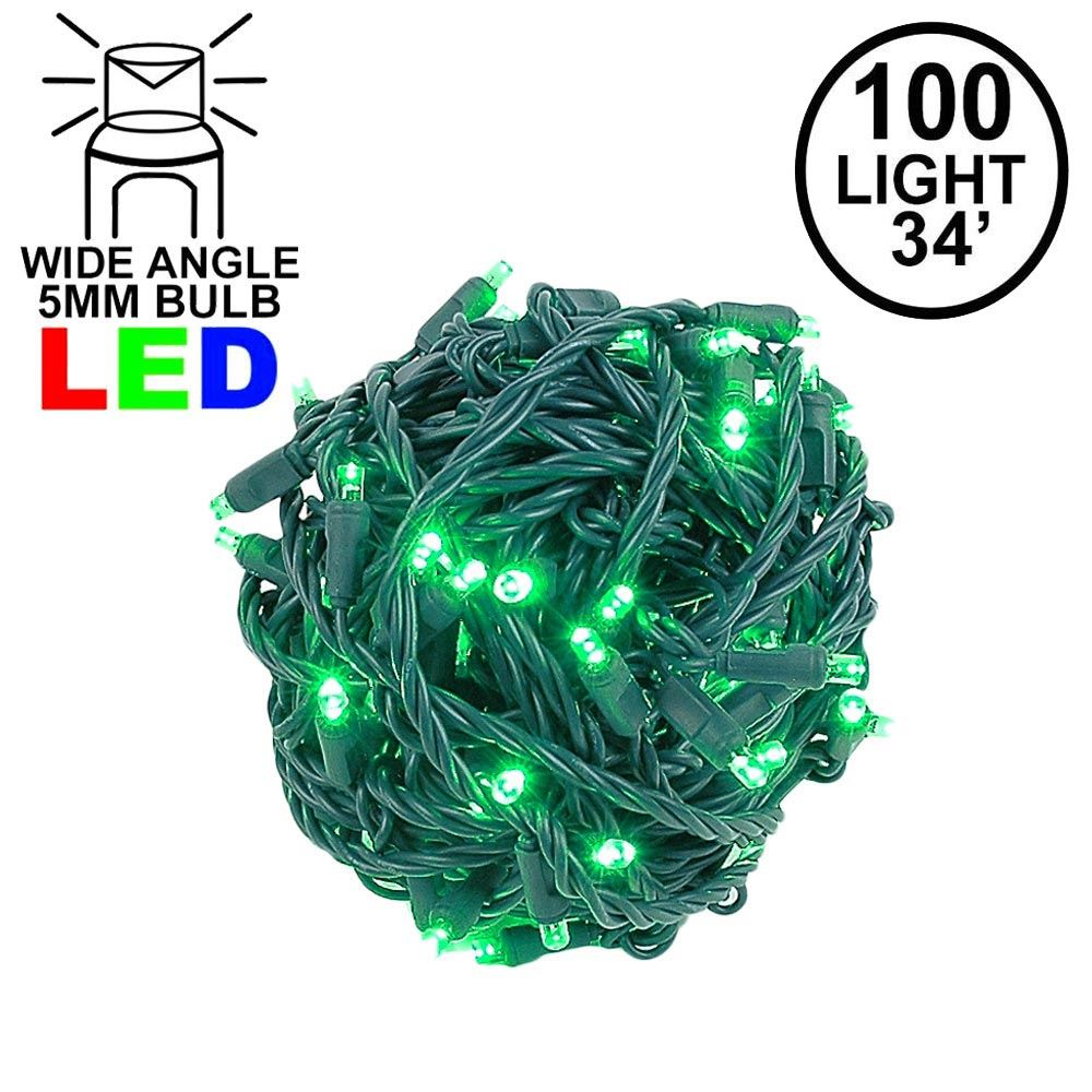 Picture of Commercial Grade Wide Angle 100 LED Green 34' Long on Green Wire