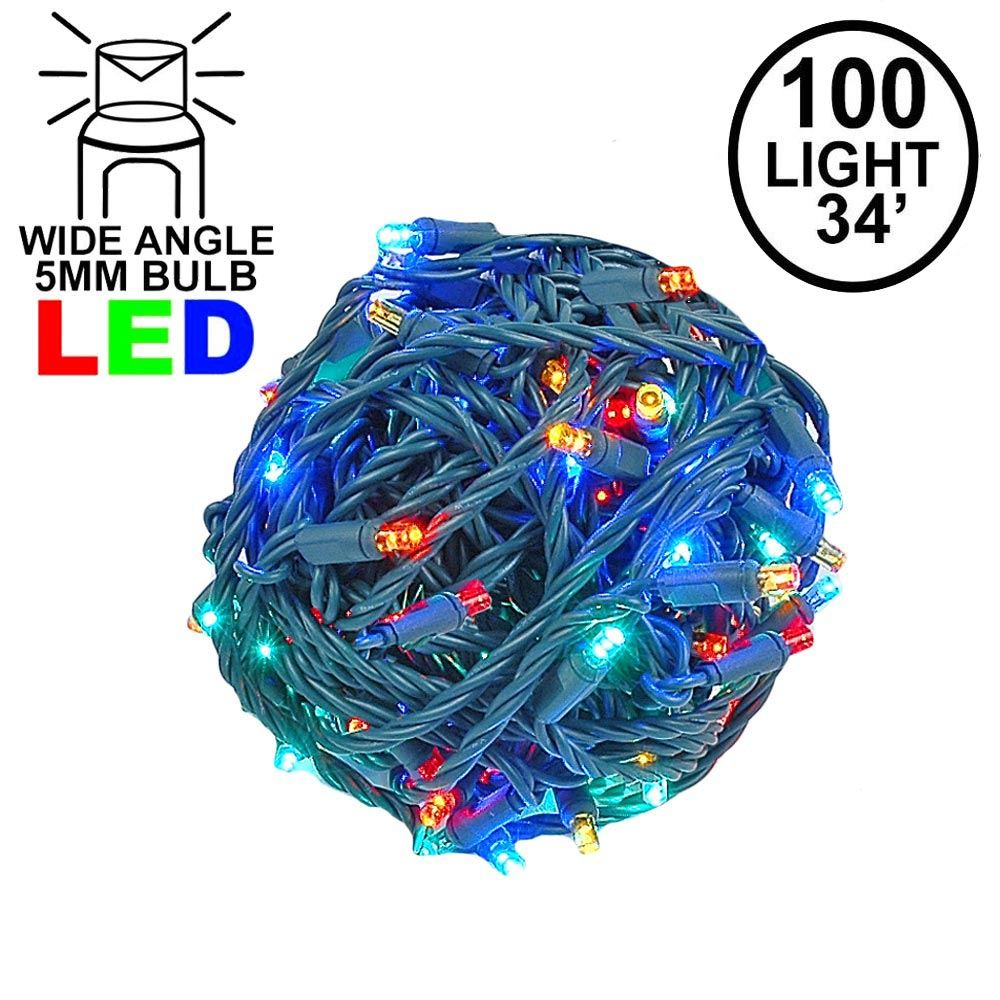 Picture of Commercial Grade Wide Angle 100 LED Multi 34' Long on Green Wire