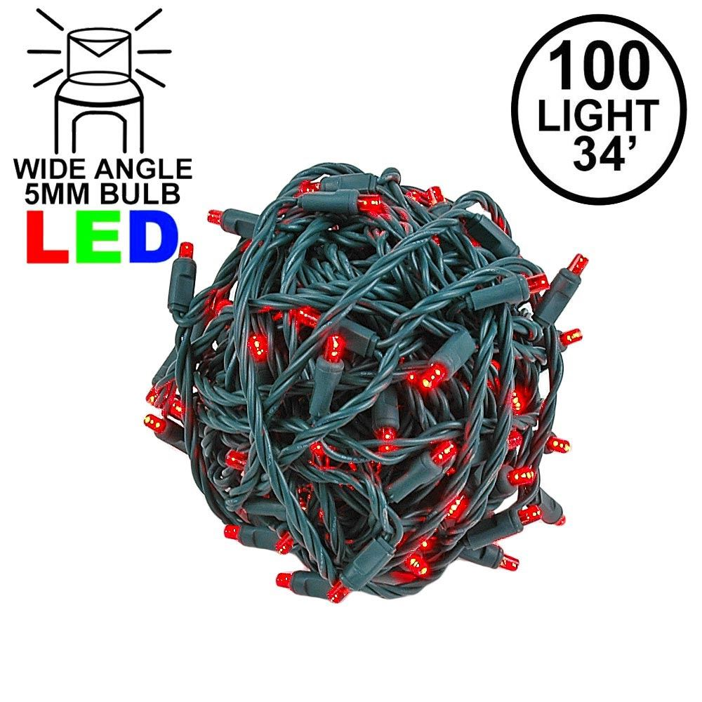 Picture of Commercial Grade Wide Angle 100 LED Red 34' Long on Green Wire