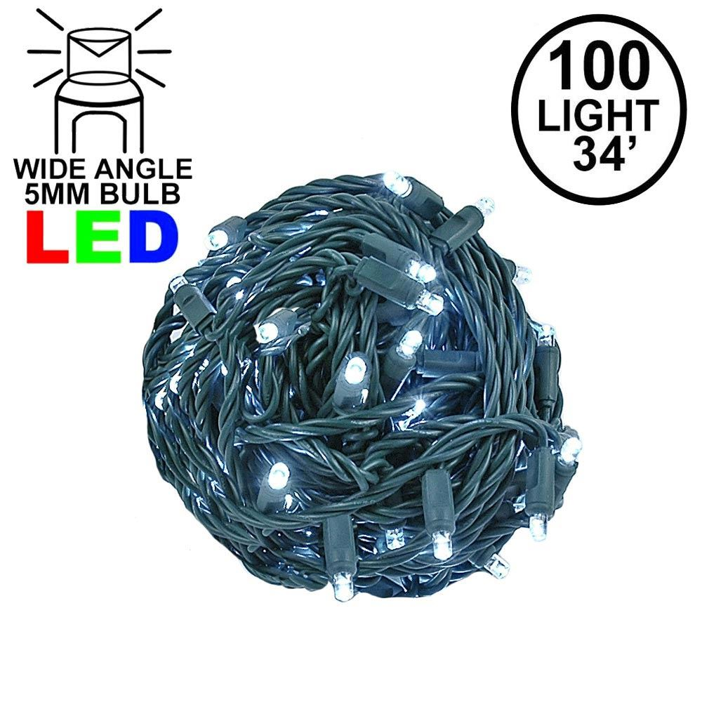 Picture of Commercial Grade Wide Angle 100 LED Pure White 34' Long on Green Wire