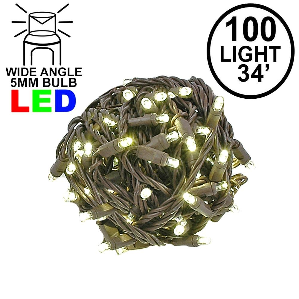 Picture of Commercial Grade Wide Angle 100 LED Warm White 34' Long on Brown Wire