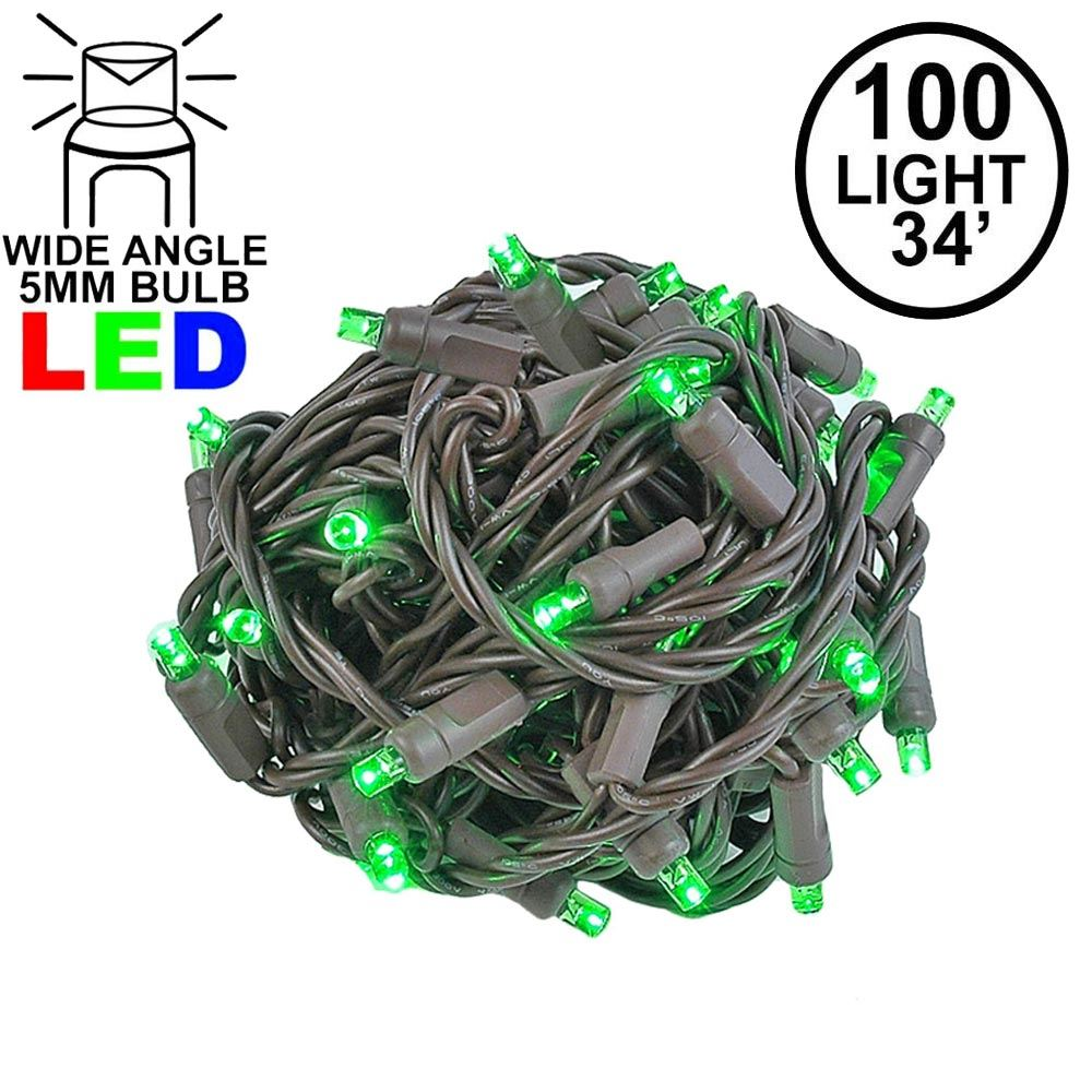 Picture of Commercial Grade Wide Angle 100 LED Green 34' Long on Brown Wire