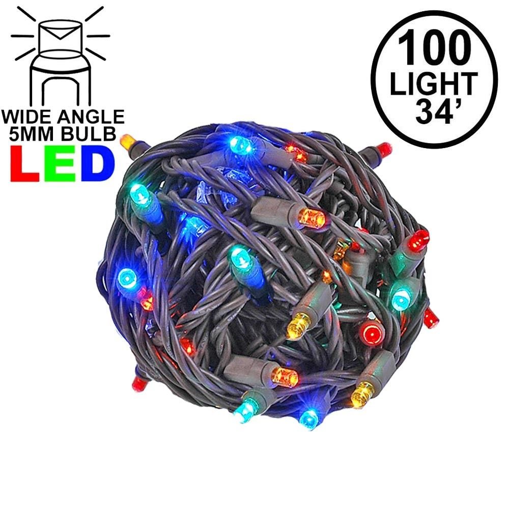 Picture of Commercial Grade Wide Angle 100 LED Multi 34' Long on Brown Wire