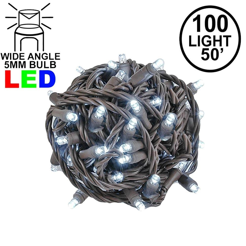 Picture of Commercial Grade Wide Angle 100 LED Pure White 50' Long on Brown Wire