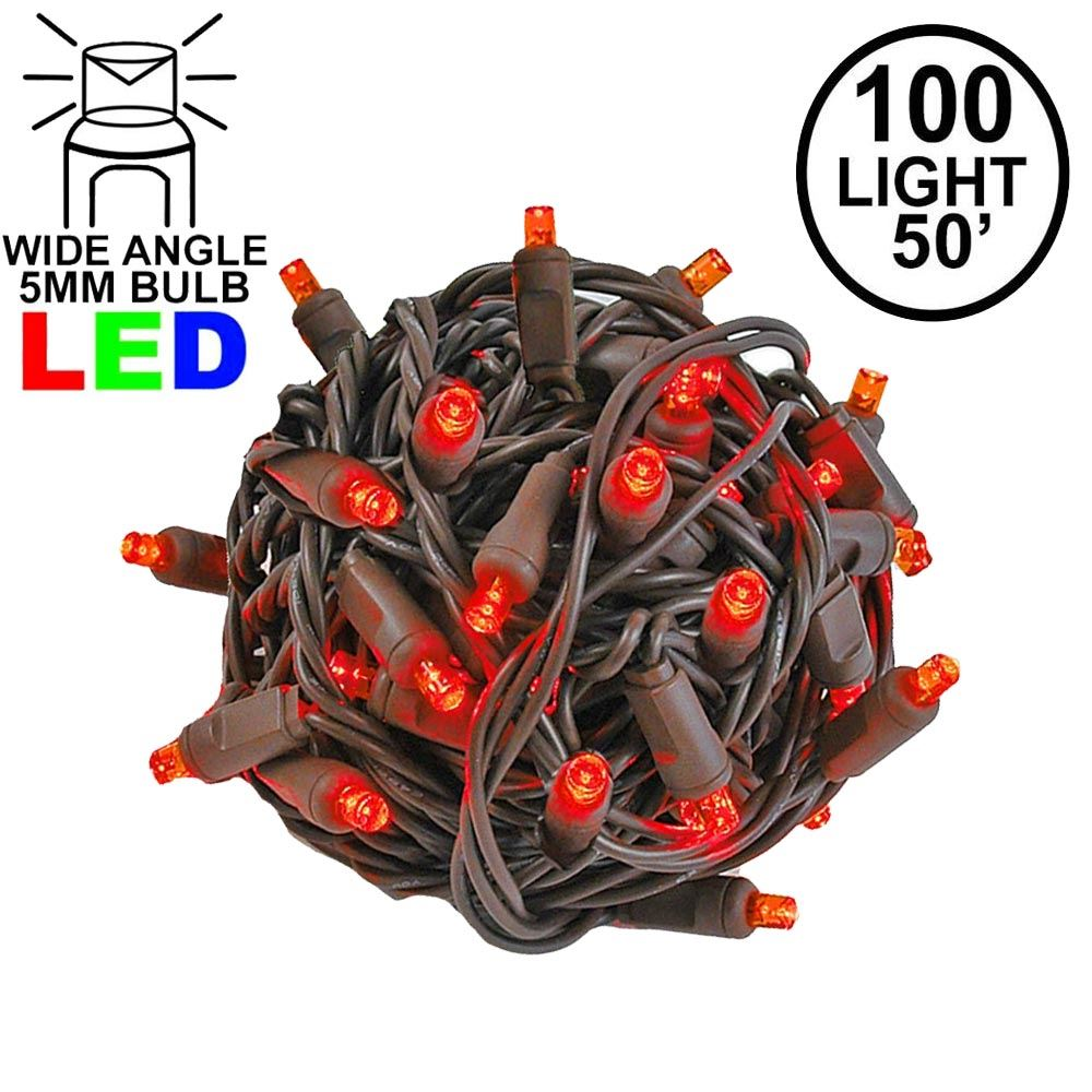 Picture of Commercial Grade Wide Angle 100 LED Red 50' Long on Brown Wire