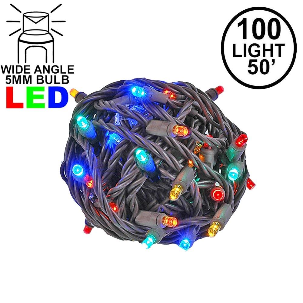 Picture of Commercial Grade Wide Angle 100 LED Multi 50' Long on Brown Wire