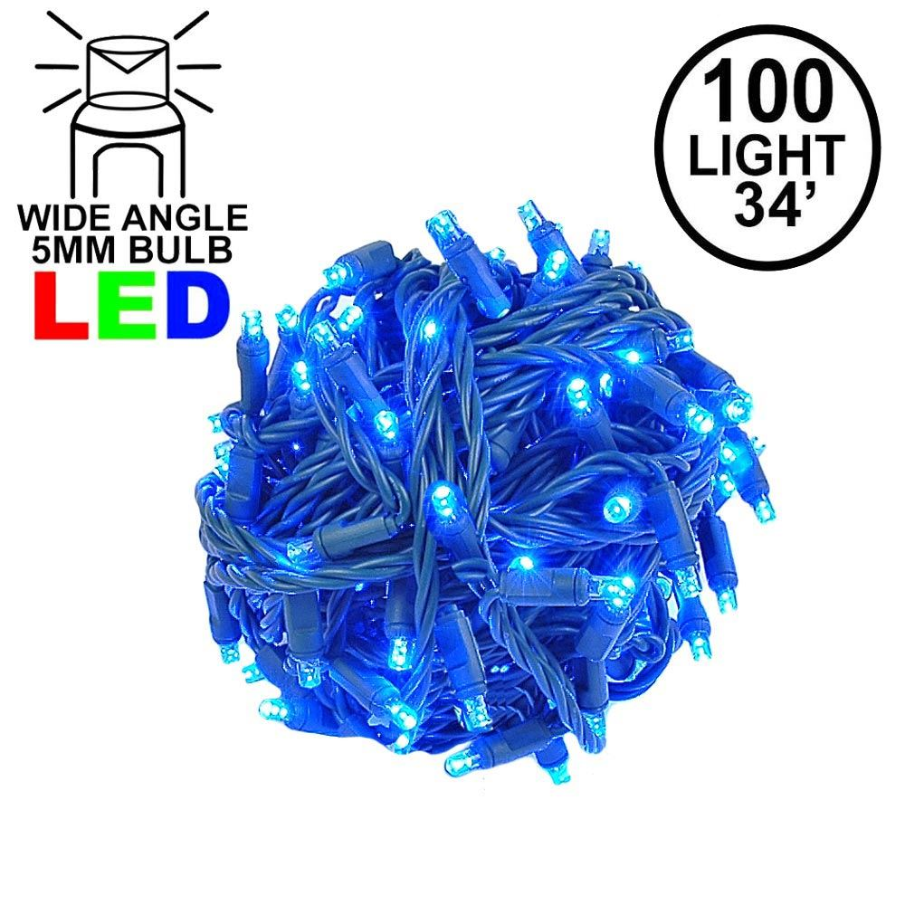 """Picture of Coaxial 100 LED Blue 4"""" Spacing Green Wire"""